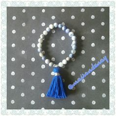 """""""Blue Sky"""" sodalite tassel bracelet  In honor of Sarah @blueskyaction, I was inspired to craft this bracelet,  named in her memory. I will donate 20% from each bracelet sold to http://www.gphope.org.   6mm sodalite round stone beads with bold cobalt blue tassel charm. Handcrafted and designed by yours truly!  Sodalite stone has a strong vibration that will bring your attention to the qualities of idealism and truth. This is a strong third eye chakra and throat chakra stone that brings an…"""