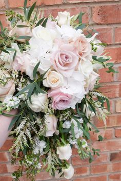 dusky pink bouquet - Laurel Weddings - teardrop bouquet - cheshire wedding florist