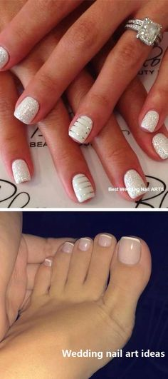 The advantage of the gel is that it allows you to enjoy your French manicure for a long time. There are four different ways to make a French manicure on gel nails. Natural Wedding Nails, Simple Wedding Nails, Wedding Nails Design, Gold Wedding Nails, Wedding Toes, Mauve Wedding, Gold Nail, Glitter Wedding, Summer Wedding
