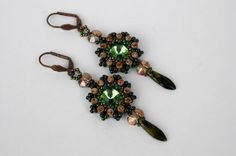 Beadwork Green Swarovski Dangle Earrings , Beadwoven Green Crystal Drop Earrings