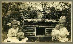 Vintage Photo c1899 Girls in Dresses and Dolls Near Their Log Cabin Doll House | eBay
