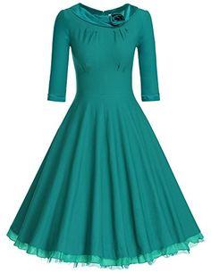 142fd4fb743 Amazon.com  MUXXN Women s 1950s Vintage 3 4 Sleeve Rockabilly Swing Dress   Clothing