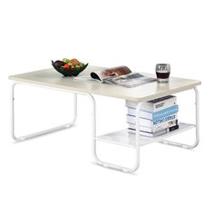 LANGRIA Stilvolle Moderne Rechteckige Tee Couchtisch Spanplatten  Abgerundeten Ecken Und Kanten Fachboden Für Zusätzlichen Stauraum
