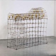 Dorothy Cross  Passion Bed  1989  steel wire, sandblasted wine glasses