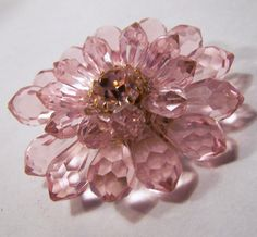 #VogueTeam #Vintage Pink Faceted Lucite Bead Rhinestone Flower Pin West Germany Brooch Mid Century Jewelry 715DG