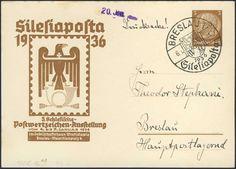 """Germany, German Empire, Deutsches Reich 1936, 3 Pfg.-GA-Privatpostkarte """"Silesiaposta"""" mit Sonderstempel, gelaufen, ohne Inhalt (Mi.-Nr.PP122C16). Price Estimate (8/2016): 15 EUR. Unsold."""
