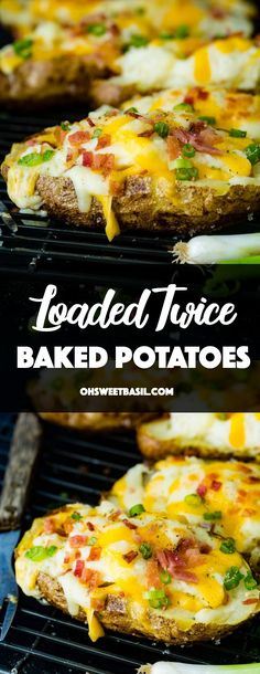 Loaded twice baked potatoes recipe - oh sweet basil Crispy skinned russet potatoes are sliced in half, their filling mashed into creamy mashed potatoes and loaded back in with shredded cheese and bacon on top which gets all melty in th Russet Potato Recipes, Healthy Potato Recipes, Baked Potato Oven, Roasted Potato Recipes, Scalloped Potato Recipes, Loaded Baked Potatoes, Creamy Mashed Potatoes, Russet Potatoes, Breakfast
