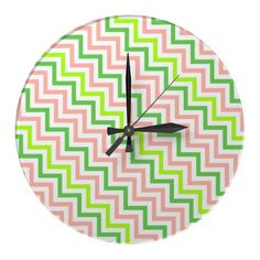 Modern zigzag pattern kitchen wall decor clock with pink, green, and white colors for a unique look. Wall Clock Design, Time Clock, White Colors, Zig Zag Pattern, Wall Clocks, Create Your Own, Kitchen Ideas, Kids Room, Wall Decor