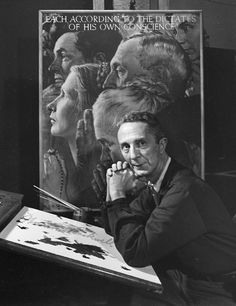 """Norman Rockwell 1958, by Yousuf Karsh. """"To make a significant photo of someone, you have to know a great deal about them – their accomplishments, station in life or contribution to their fellow man. All this information and observation plays an important part so that the photographer can make a sensitive image. I always read a great deal about the person I'm going to photograph. I imbue myself with their contribution to the world."""""""