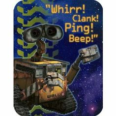 "Wall-e Party Invitations 8 Count Classic Vintage Walle by Party Express. $6.99. Perfect for your little space explorer!. Great Design!. 8 Party Invitations with Envelopes. Read: ""Whirr! Clank! Ping! Beep!"". Wall-E Party Invitations 8-pack ""whirr! clank! Ping! Beep!"". inside message: That's robot speak for ""You're invited to a party!"""