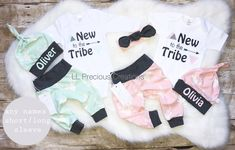 Twins Coming Home Outfits New to the Tribe Personalized Newborn Outfit Baby Boy Outfit Baby Girl Outfit Twin Boy Girl Outfits Pink and Mint by LLPreciousCreations on Etsy https://www.etsy.com/listing/581753104/twins-coming-home-outfits-new-to-the