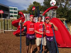 Caps Tom Wilson, Jay Beagle and Aaron Volpatti stand in front of the finished MSEPlayground Build with Kaboom ~Washington Capitals~