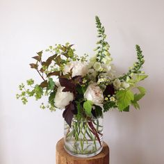 Peonies, Foxglove, Physocarpus Diabolo and Dart's Gold, Lady's Mantle, Feverfew Summer Flowers, Cut Flowers, Floral Wedding, Wedding Flowers, Flower Farm, Perennials, Peonies, Floral Arrangements, Glass Vase