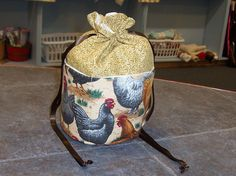 Handmade One of a Kind   Chicken Scratch  Ditty Bag...Drawstring Tote Bag Great for Knitting, Bingo, Sewing by TheKnittingGnomeVT on Etsy