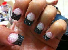 black powder acrylic nail tip with glitter