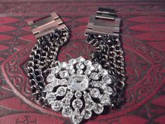 OMG i want this....Rhinestone broach bracelet by OceanBlueCreations on Etsy,
