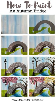 How To Paint A Bridge - Step By Step Painting This beginner tutorial will show you how to paint a bridge in acrylics! This is a Fall themed canvas painting tutorial, however, you're welcome to paint the trees in your favorite season. Cute Canvas Paintings, Canvas Painting Tutorials, Easy Canvas Painting, Simple Acrylic Paintings, Happy Paintings, Painting Lessons, Acrylic Art, Diy Painting, Painting & Drawing