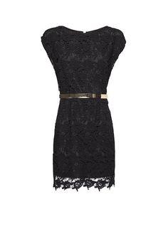 MANGO - Robe dentelle ceinture #lbd #lace