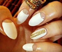 White Almond Nails with Clear Crescent and Gold Zipper Theme
