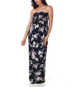 Black Floral Maternity Maxi Dress by PinkBlush Maternity #zulily #zulilyfinds