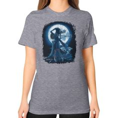 Full Moon Shines On Old Guitarist Blues Unisex T-Shirt (on woman)