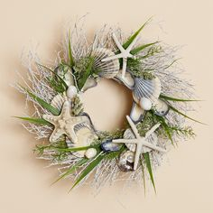 14 inch White Twig Wreath with Native Scallop Shells, Three Starfish and Faux Grasses