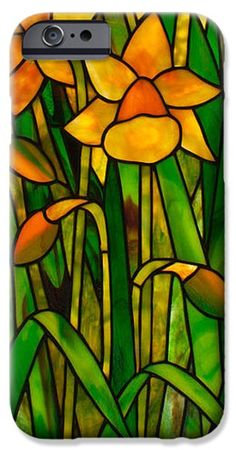 IPhone Case featuring the glass art Daffodils by David Kennedy