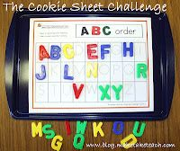 Cookie Sheet Challenge Perfect for a kindergarten center or small group instruction activity. Use on a cookie sheet! Free sample templatesPerfect for a kindergarten center or small group instruction activity. Use on a cookie sheet! Abc Centers, Kindergarten Centers, Kindergarten Literacy, Early Literacy, Literacy Centers, Literacy Stations, Letters Kindergarten, Learning Letters, Cookie Sheet Activities