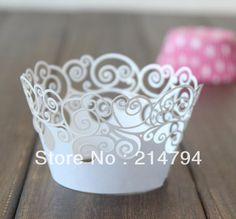 60pcs White Waves Cupcake Wrapper Muffin Party Cake Decoration Laser Cut For Christmas Wedding Free Shipping-in Event & Party Supplies from Home & Garden on Aliexpress.com