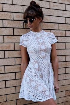 Dress: mini lace white bun brunette summer round sunglasses white lace short sleeve short sleeve