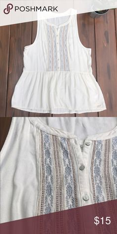 A&F Sleeveless Boho Top Features embroidered design and a fun flare. Please note the low underarm cuts! Worn once, no stains or tears! Abercrombie & Fitch Tops Tank Tops