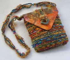 Earthy Batik Purse by Nancy Faris Designs Fabric Purses, Fabric Bags, Art Bag, Handmade Purses, Handmade Bracelets, Weaving Projects, Boho Bags, Tapestry Weaving, Fabric Jewelry