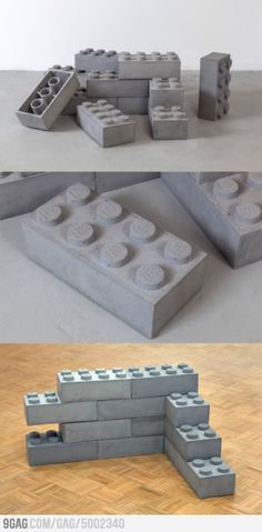 Concrete Legos #lego #legos #concrete #cement #beton #DIY #buils #toys #legolove #design