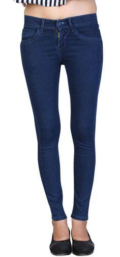 Women Girls Ladies Stretchable Slimfit Ankle length Blue BASIC Jeans