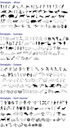 Week 1: Stone Age Art..................  Amazing page comparing Petroglyph and Pictographs styles found on different continents