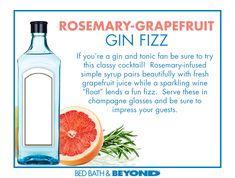 Rosemary-Grapefruit Gin Fizzes are a refreshing fun spin on the classic gin and tonic cocktail. A perfect drink for entertaining adult guests.