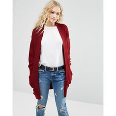 ASOS Ultimate Chunky Cardigan ($42) ❤ liked on Polyvore featuring tops, cardigans, red, oversized cardigan, chunky cardigan, thick knit cardigan, cardigan top and chunky open front cardigan