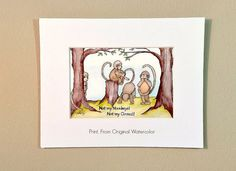 """Playful Monkeys, Painting of Monkeys, Print from Original Watercolor, """"Not My Circus, Not My Monkeys"""" #2, 5x7 Print in 8x10 Mat"""