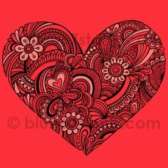 Hand-Drawn Henna Paisley Heart Tattoo Doodle Seamless Repeat Pattern Vector by blue67 by blue67design, via Flickr