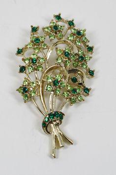 Vintage Green Rhinestone Bouquet Broach Pin