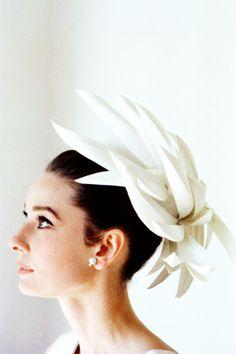 Audrey Hepburn bridal inspiration - unique but classic headpiece