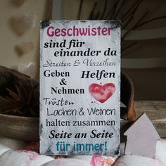"""Decorative objects – Shabby sign """"siblings are for each other"""" – a unique product by hand-hand -arbeit on DaWanda Happy Quotes, Me Quotes, True Words, Friendship Quotes, Kids And Parenting, Diy Gifts, Hand Lettering, Diy And Crafts, Shabby"""