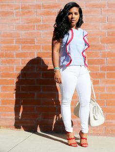Stripped Top From Shein and white jeans are perfect for a fall transition look. Shein has affordable great pieces for your wardrobe Black Women Fashion, Curvy Fashion, Urban Fashion, Girl Fashion, Fashion Looks, Womens Fashion, Fashion Edgy, Fashion Top, Sexy Outfits