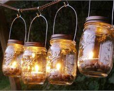 Four Ball Mason Jar Clear Lantern Candle by organicmountainwoman