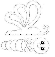 patrones de dibujos en foamy - Buscar con Google Felt Patterns, Stuffed Toys Patterns, Beading Patterns, Cardboard Crafts, Felt Crafts, Paper Crafts, Butterfly Felt, Precious Moments Coloring Pages, Bear Felt