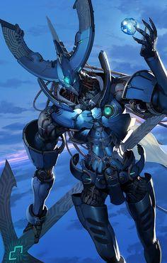 By Toshiaki Takayama Alien Concept Art, Armor Concept, Gundam, Character Concept, Character Design, Aliens, Big Robots, Accel World, Sci Fi Armor