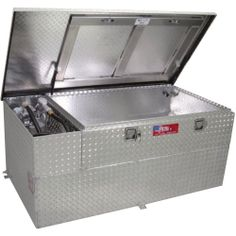 RDS Fuel Transfer Tank/Toolbox Combo with 15 GPM Pump — 90-Gal. Capacity, Diamond Plate, Model# 73960 | Auxiliary-Transfer Tank Toolbox Comb...