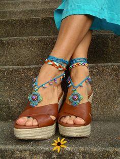 blue HIPPIE bAREFOOT SANDALS crochet sandals beaded by GPyoga, $75.00