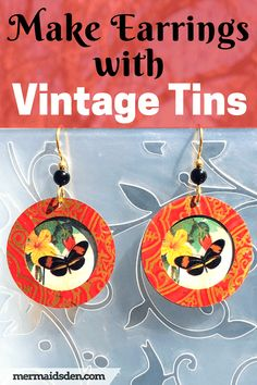 In this post, I'll show you how to make earrings out of vintage tins from a thrift shop. Vintage tins have . How To Make Earrings, Diy Earrings, Vintage Tins, Vintage Brooches, Amber Jewelry, Gold Jewelry, Jewellery Diy, Metal Jewelry, Antique Jewelry