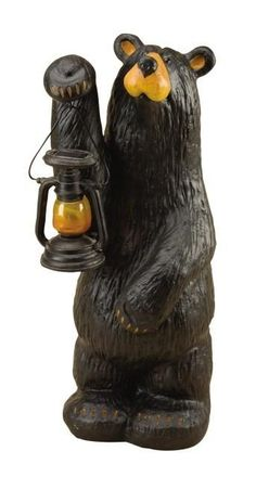 The Bearfoots Koleman Grand by Big Sky Carvers will always light the way for you! This piece comes from Jeff Fleming's Bearfoots Grand series and is hand cast in resin by Big Sky Carvers. The old style lamp Koleman carries has an LED bulb and a solar panel on the top.